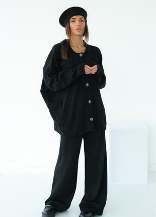 Женский костюм с кардигана и широких брюк