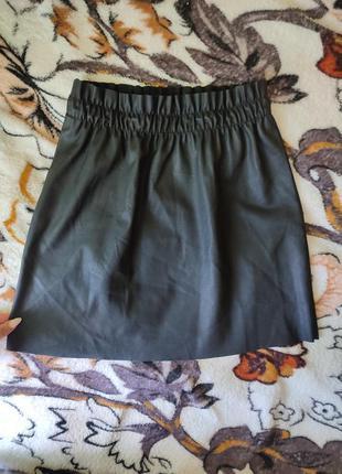 Кожаная юбка  на резинке