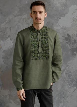 Дуже стильна чоловіча вишита сорочка з льону