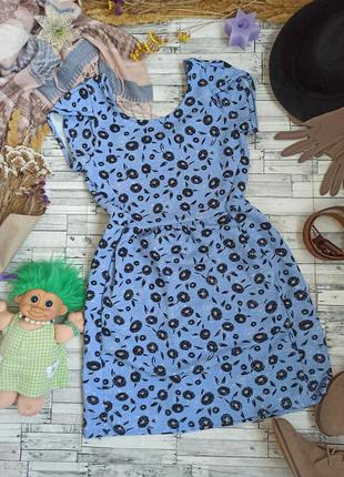 Яркое трикотажное голубое платье миди в цветочек next