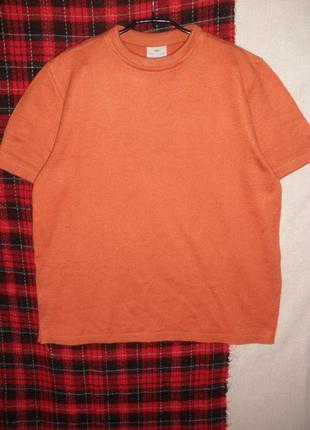Джемпер теплая футболка короткий рукав шерсть акрил