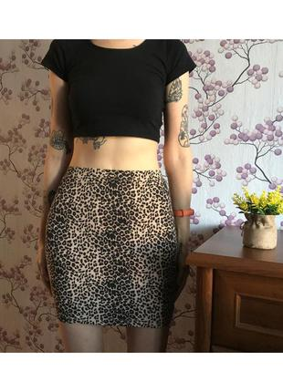 Леопардовая юбка мини на резинке