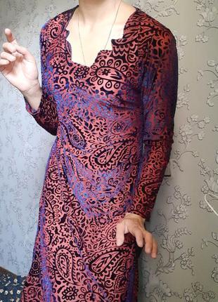 Этническое ретро винтаж бохо народное бархатное переливается платье туника