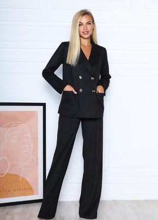 Замшевий костюм з двобортного блейзера та брюк-палацо / замшевый костюм из пиджака и брюк 3 цвета