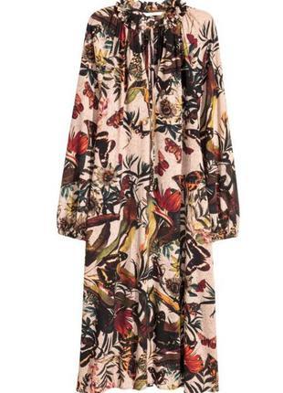 Красивое  платье миди свободного кроя с цветочным принтом  от h&m