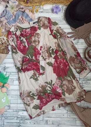 Лёгкое воздушное платье с длинным рукавом в цветочек fashion union