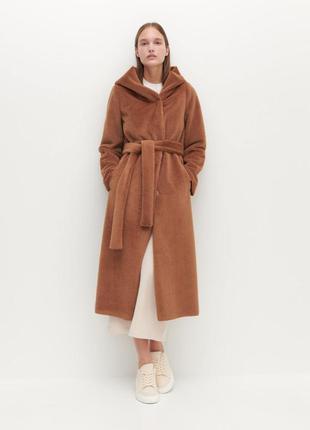 Шикарное длинное коричневое  пальто reserved с капюшоном шуба искусственный мех пальтишко халат плащ