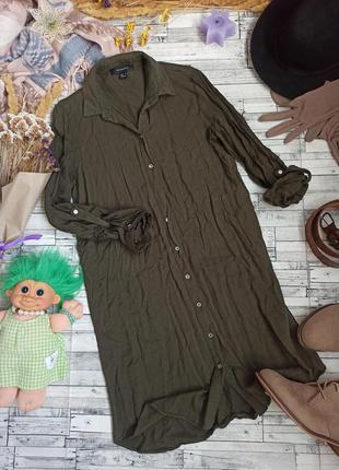 Платье рубашка на пуговицах хаки atmosphere