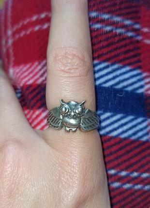 Винтажное кольцо 925 проба сова