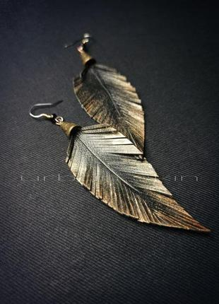 Серьги - перья с золотом