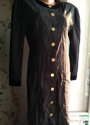 Стильное черное платье пиджак radley оригинал с золотыми пуговицами шерсть р.38 36
