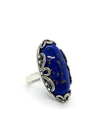 💍🐋 кольцо ажурное овал натуральный камень лазурит ляпис лазурь