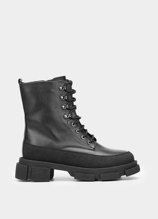 Оригінальні шкіряні жіночі черевики браска / кожанные женские челси в чорном цвете braska