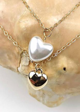 Цепь цепочка колье чокер двойное с подвесками сердечками жемчужное сердце под золото новое