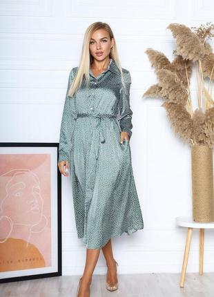 Платье-рубашка из легкого шелка