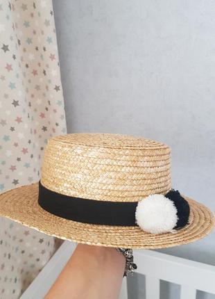 Шляпа канотье из натуральной соломки соломенная ostin