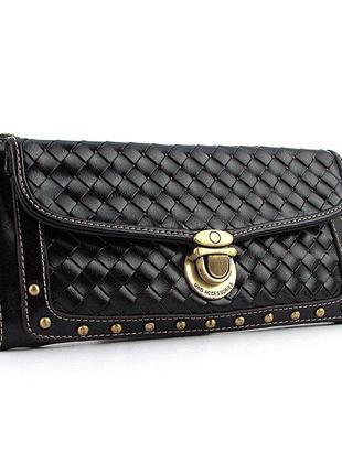 Маленькая женская сумочка клатч на плечо серная плетеная на защелке