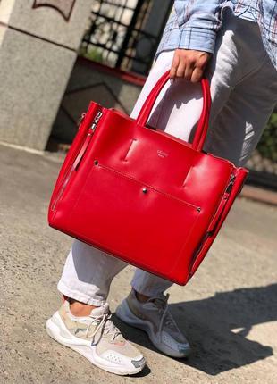 Жіноча шкіряна сумка в кольорах червоний
