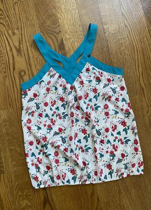 Майка с бирюзовыми вставками/ блуза без рукавов