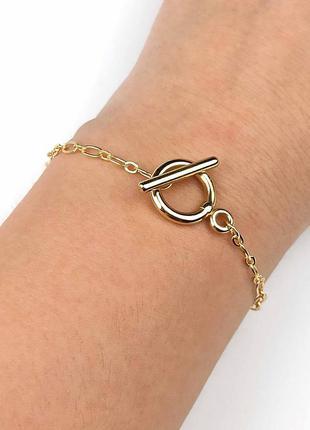 Минималистичный браслет-цепь-цепочка якорная с застежкой тогл под золото новый качественный