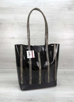 Сумка вертикальная корзина с длинными ручками сумочка шоппер силиконовая черная с косметичкой
