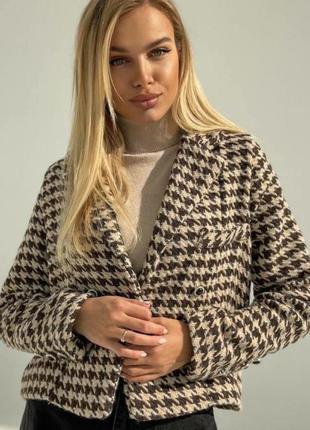 Женский шерстяной кашемировый пиджак гусиная лапка