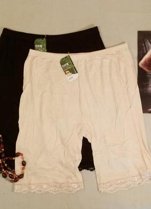 Трусики шортики, панталоны бамбук с кружевом