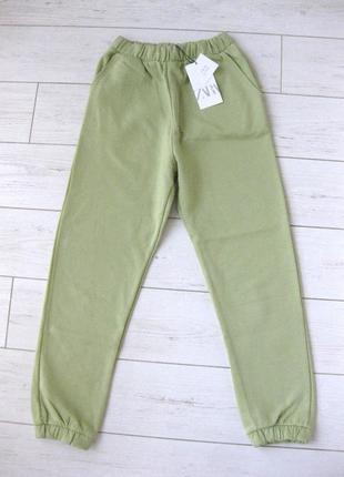 Спортивные штаны джоггеры zara новые, тонкий флис. цвет фисташка