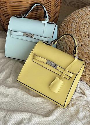 Женская сумка кожзам кросс боди желтая
