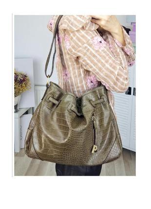 Стильная сумка ведро сумка мешок на плечо через плечо тиснение крокодила marc picard