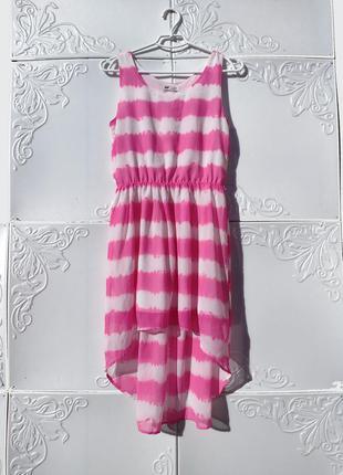Бело розовое летнее платье в полоску с хвостом h&m