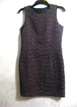 Шерстяное платье в стиле шанель esprit бордовое чёрное твидовое
