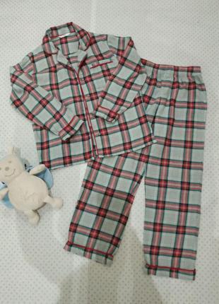 Мягкая и комфортная пижама в клетку из нежной рубашечной фланели(100% хлопок) m&s на 140 см