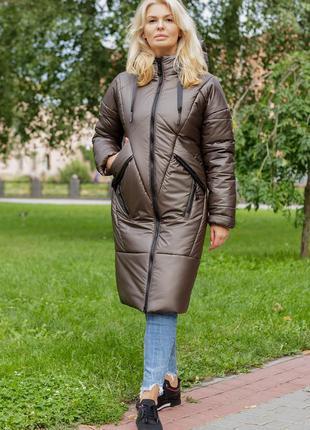 Женское стильное зимнее пальто с капюшоном климента цвета кофе