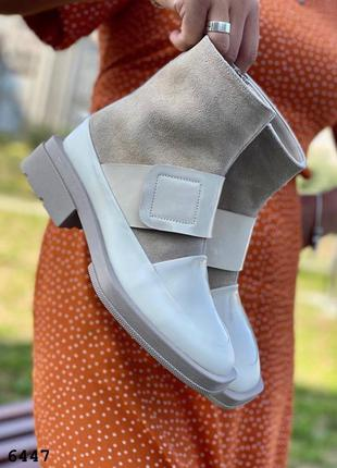 Шикарные светлые ботинки лак/замш на байке на отшив