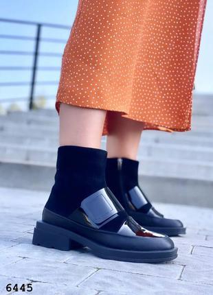 Ультрамодные ботинкилак/замш на байке отшив
