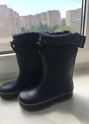 Резиновые сапоги на теплой подкладке с отворотами чобітки некст next