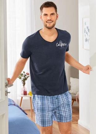 Мужская пижама с шортами, домашний костюм livergy германия