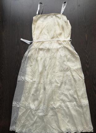 Молочное платье сарафан zara