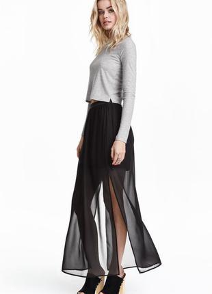 Шифоновая юбка в пол с разрезами divided