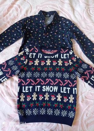 Новогодняя рубашка и свитер waikiki на 7-8 лет