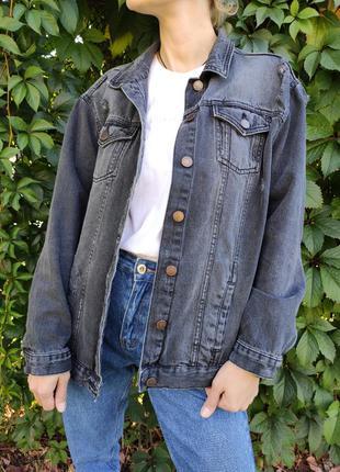 Удлиненная джинсовая серая куртка от new look
