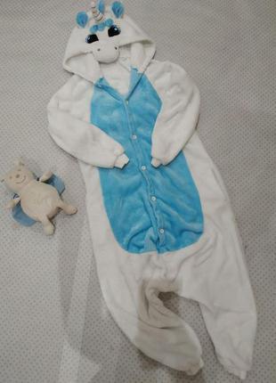 Кигуруми, пижама голубой единорог на  рост 146-152 см