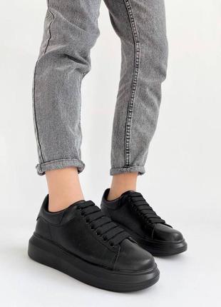🔥 черные кожаные натуральные кроссовки кеды 🔥