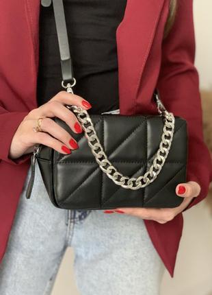 Небольшая стильная женская сумочка с цепью, сумка с серебрёной цепью