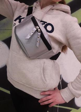 Стильная подростковая серебристая бананка, барсетка, сумка на пояс для девушки