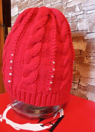 Турецкая, демисезонная шапка, шапочка теплая с кристаллами