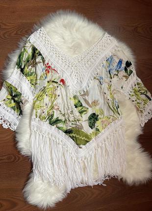 Новая пляжная блуза туника в тропический принт с бахромой котон