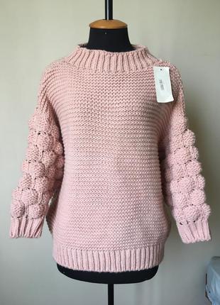 🌸🌸🌸 новий в'язаний светр з об'ємними рукавами джемпер італія шерсть альпака knitted bubble sleeve jumper