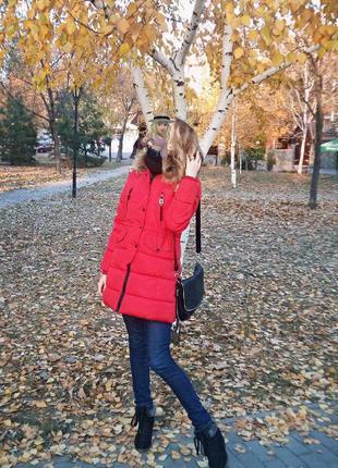 Куртка пальто парка зимняя тёплая красная женская